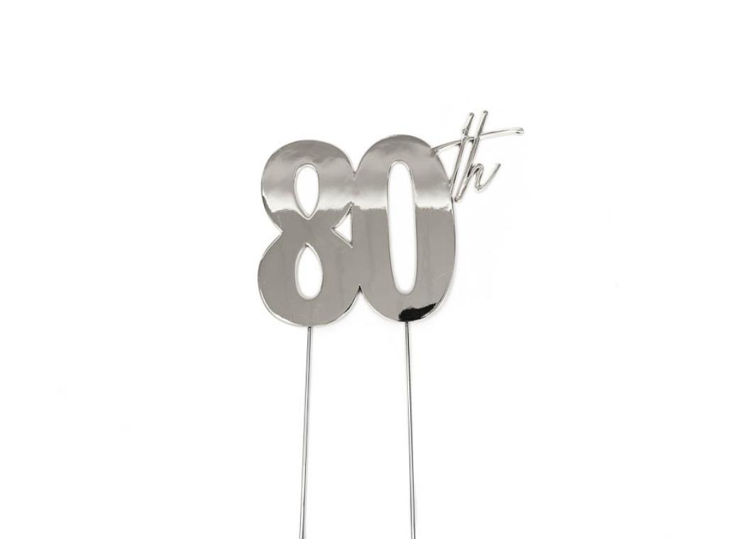 Silver Metal Cake Topper - 80th