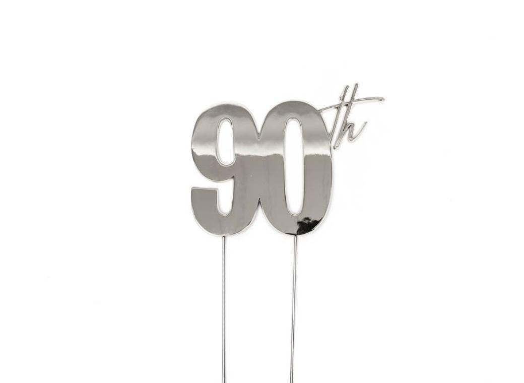 Silver Metal Cake Topper - 90th