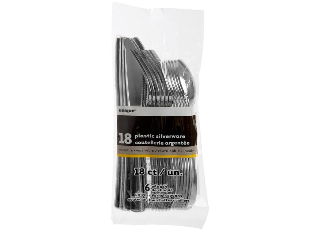 Silver Metallic Plastic Cutlery - 24pk