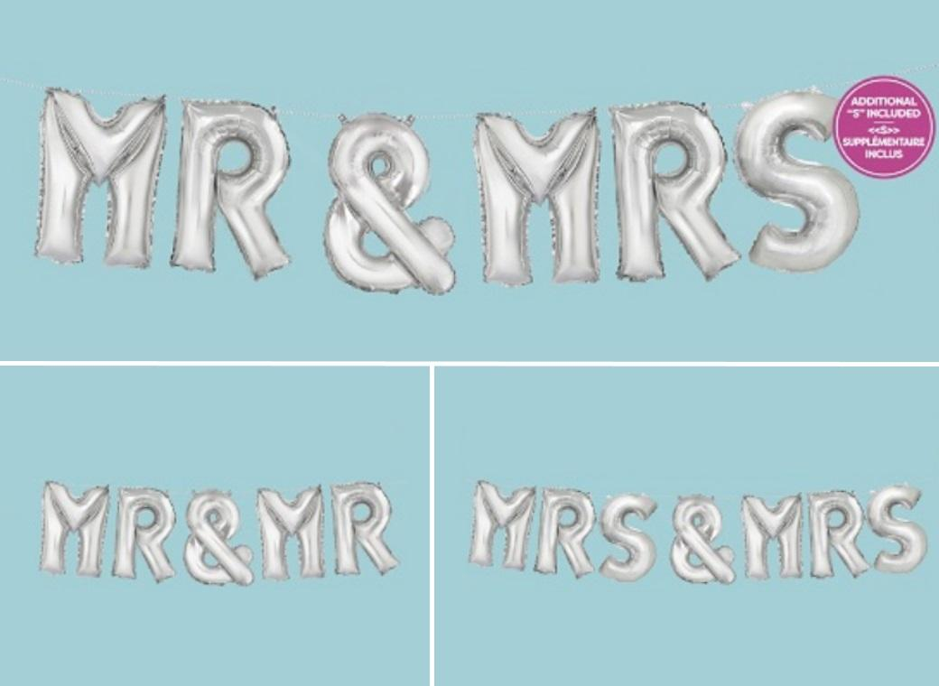 Balloon Banner Kit - Silver Mr & Mrs