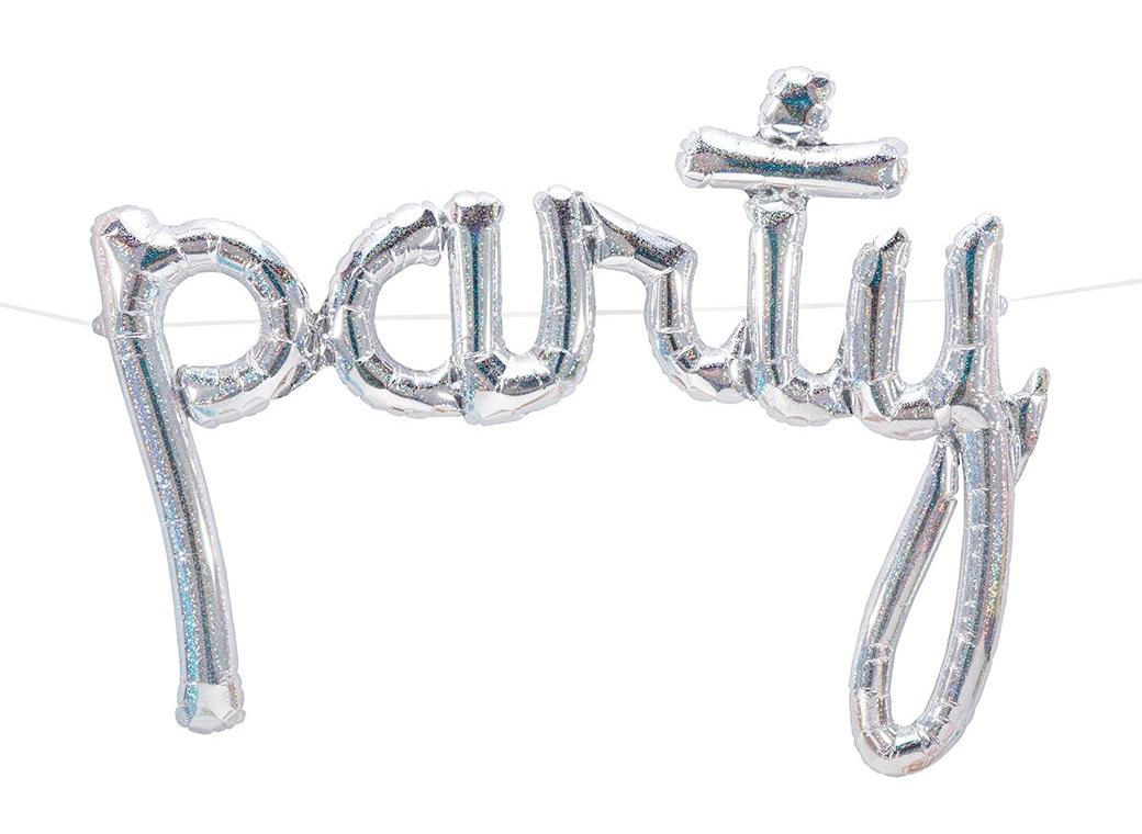 Silver 'Party' Script Balloon