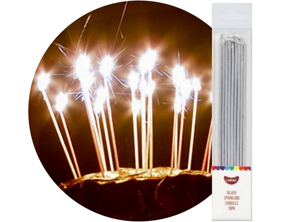 Sparkling Candles 18pk Silver