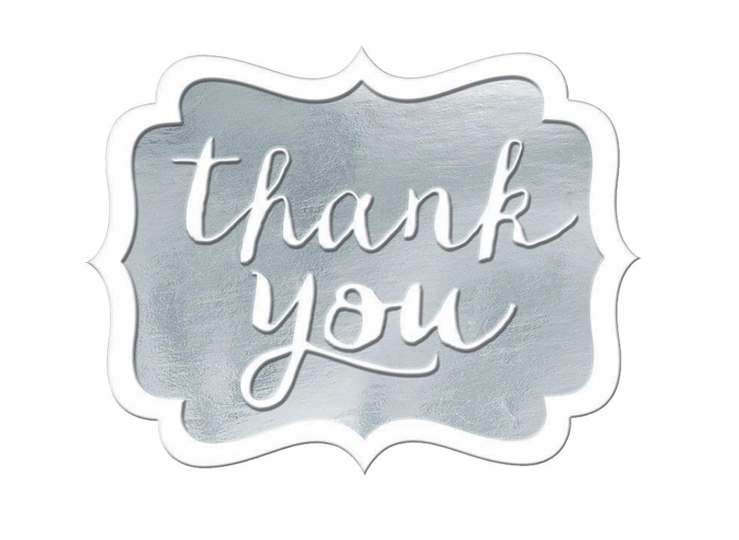 Thank You Stickers 50pk - Silver