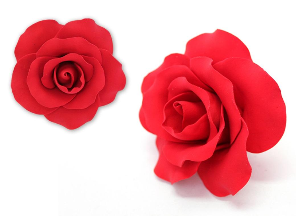 Single Gumpaste Rose Large - Red
