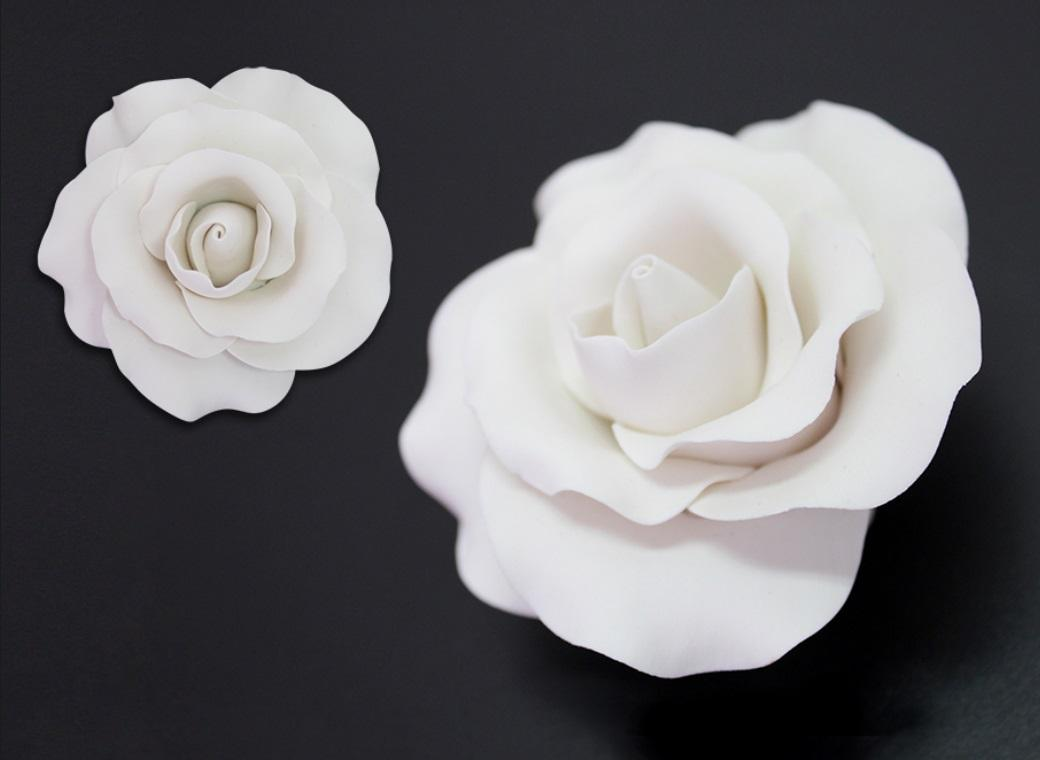 Single Gumpaste Rose Large - White