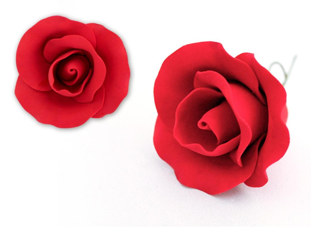 Single Gumpaste Rose Medium - Red