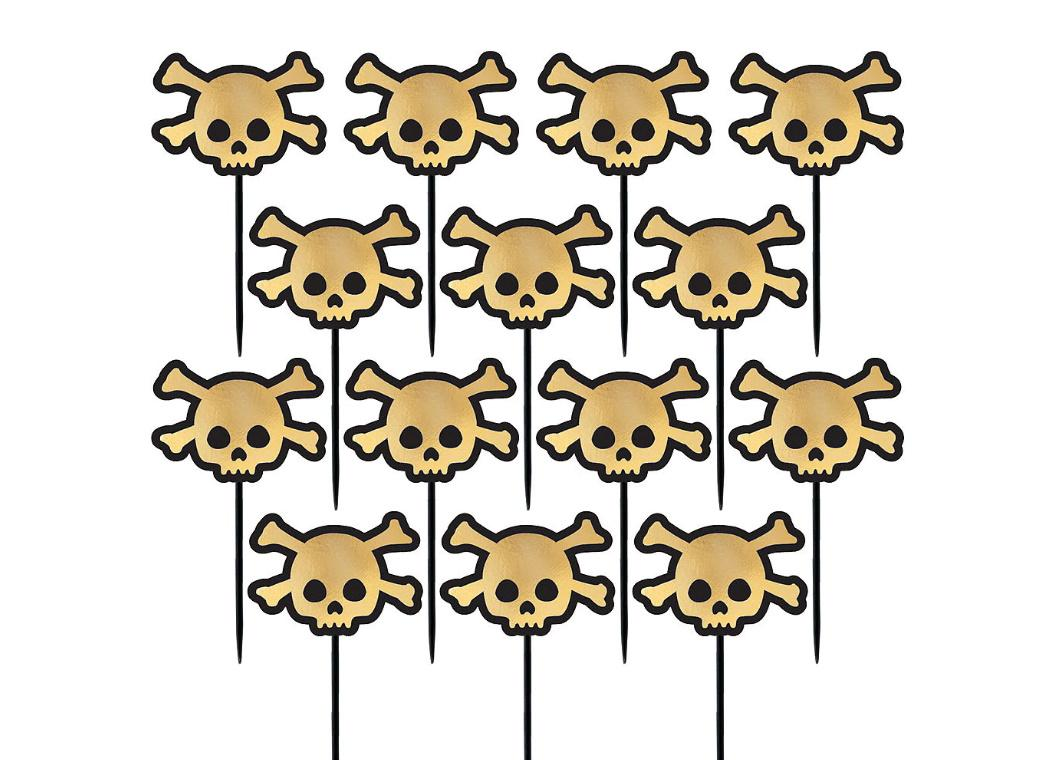 Gold Foil Skull & Crossbones Picks 36pk