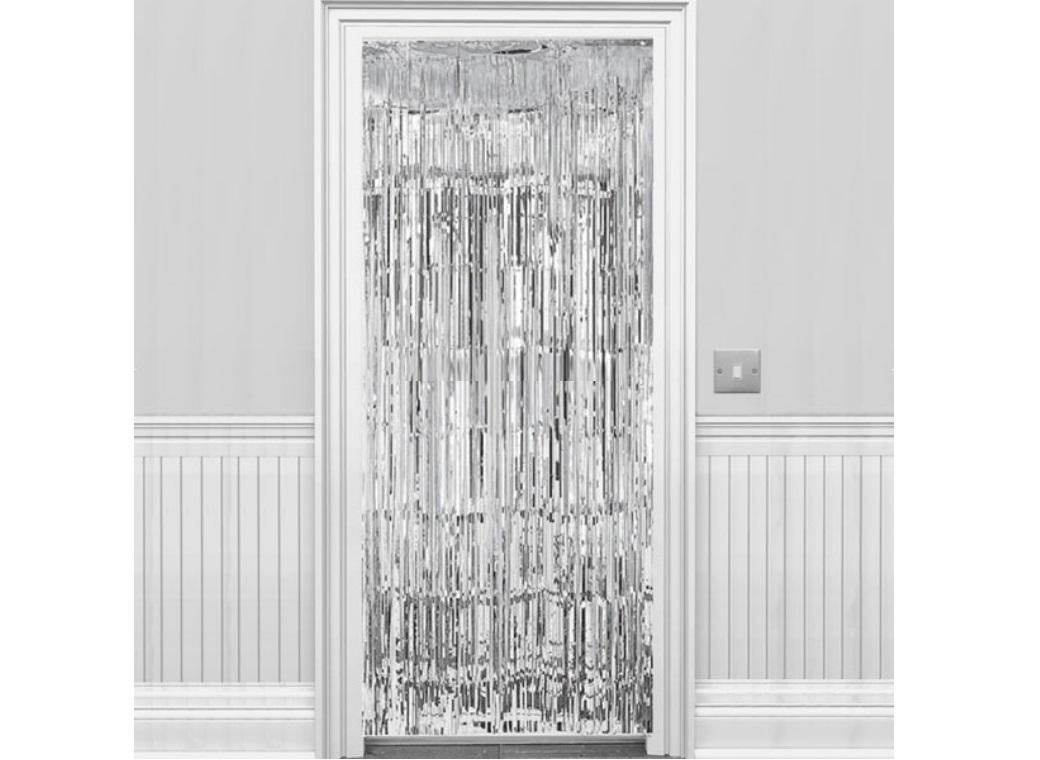 Silver Foil Fringed Door Curtain