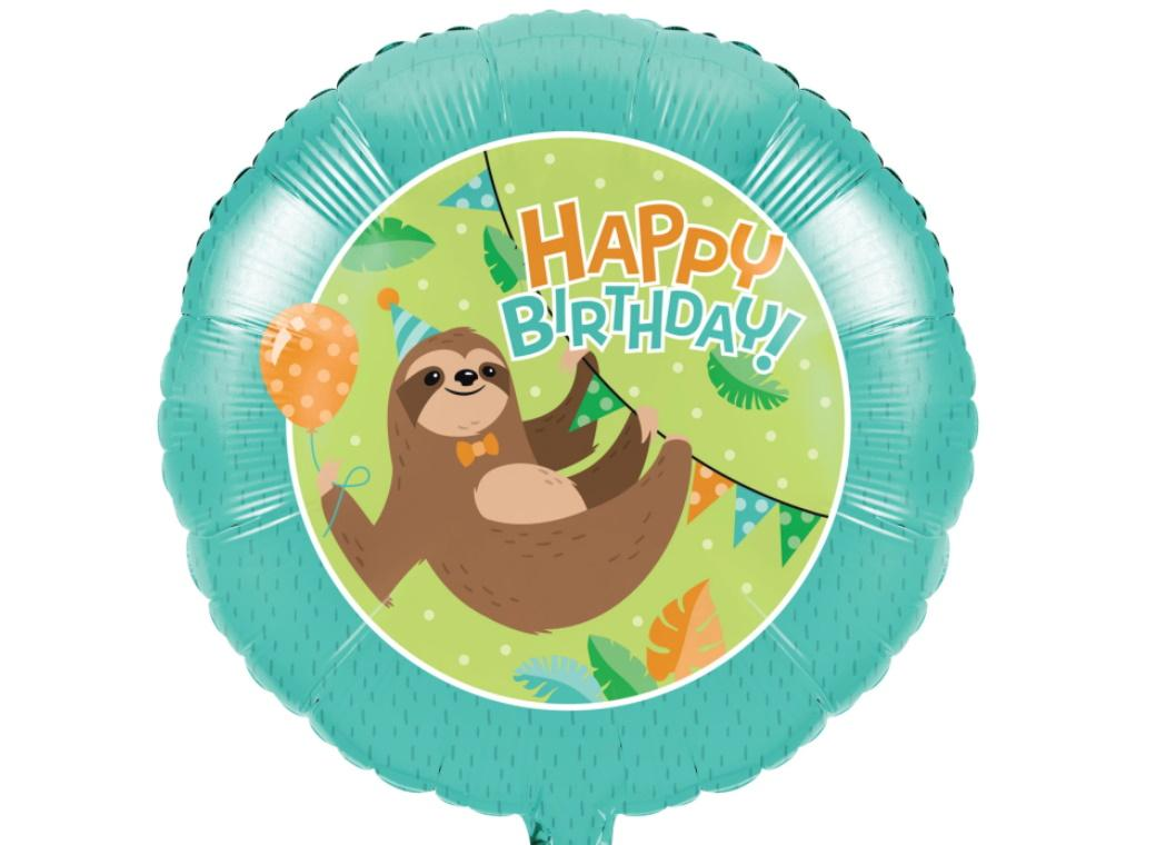Sloth Party Foil Balloon