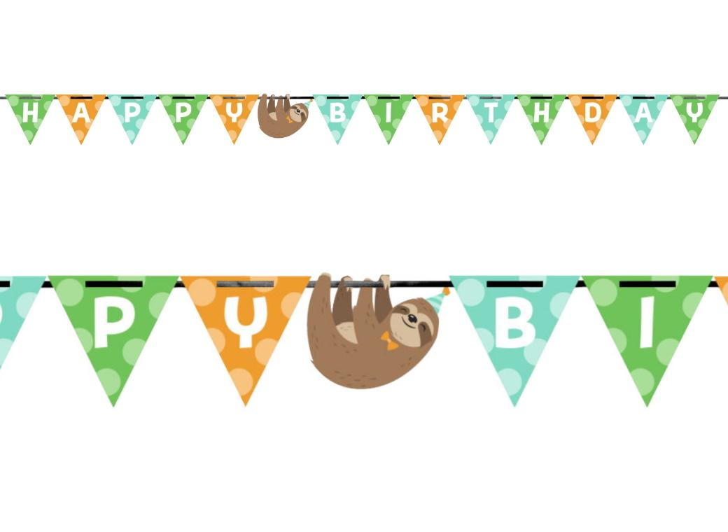Sloth Party Happy Birthday Banner