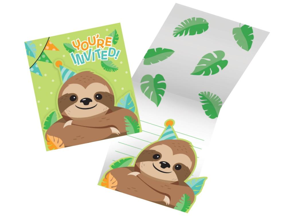 Sloth Party Invitations 8pk
