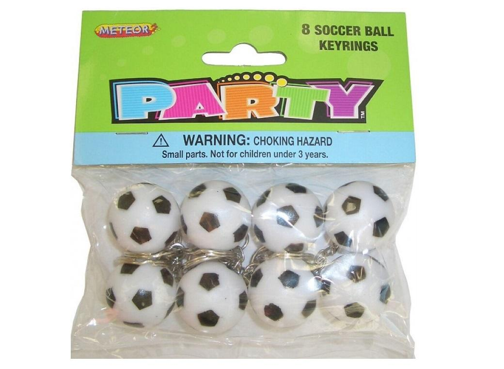 Soccer Ball Keyrings - 8pk