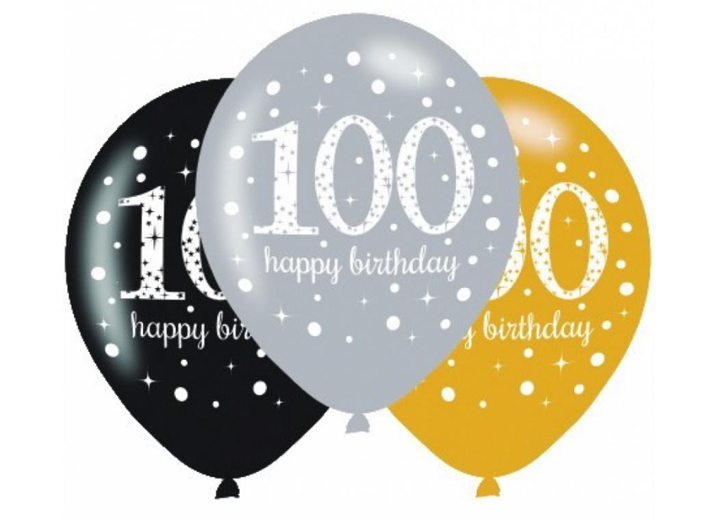 Sparkling 100th Birthday Balloons 6pk