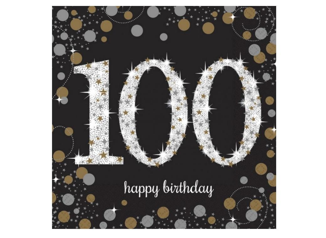 Sparkling 100th Birthday Lunch Napkins 16pk