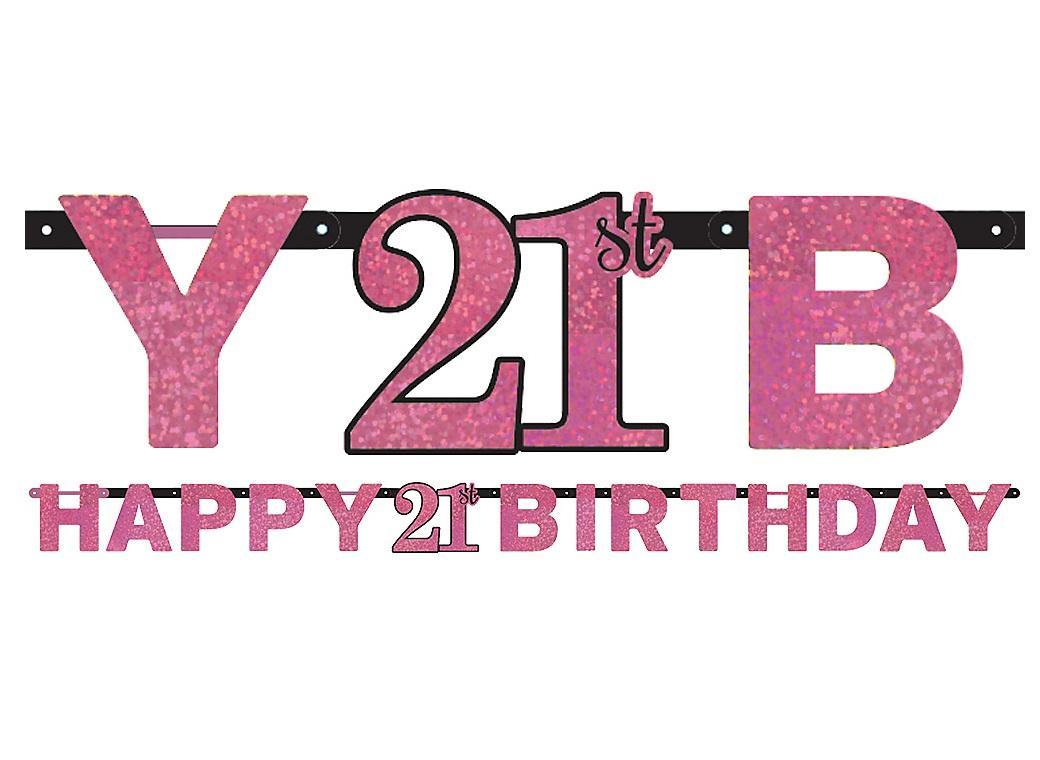 Sparkling Pink 21st Birthday Banner
