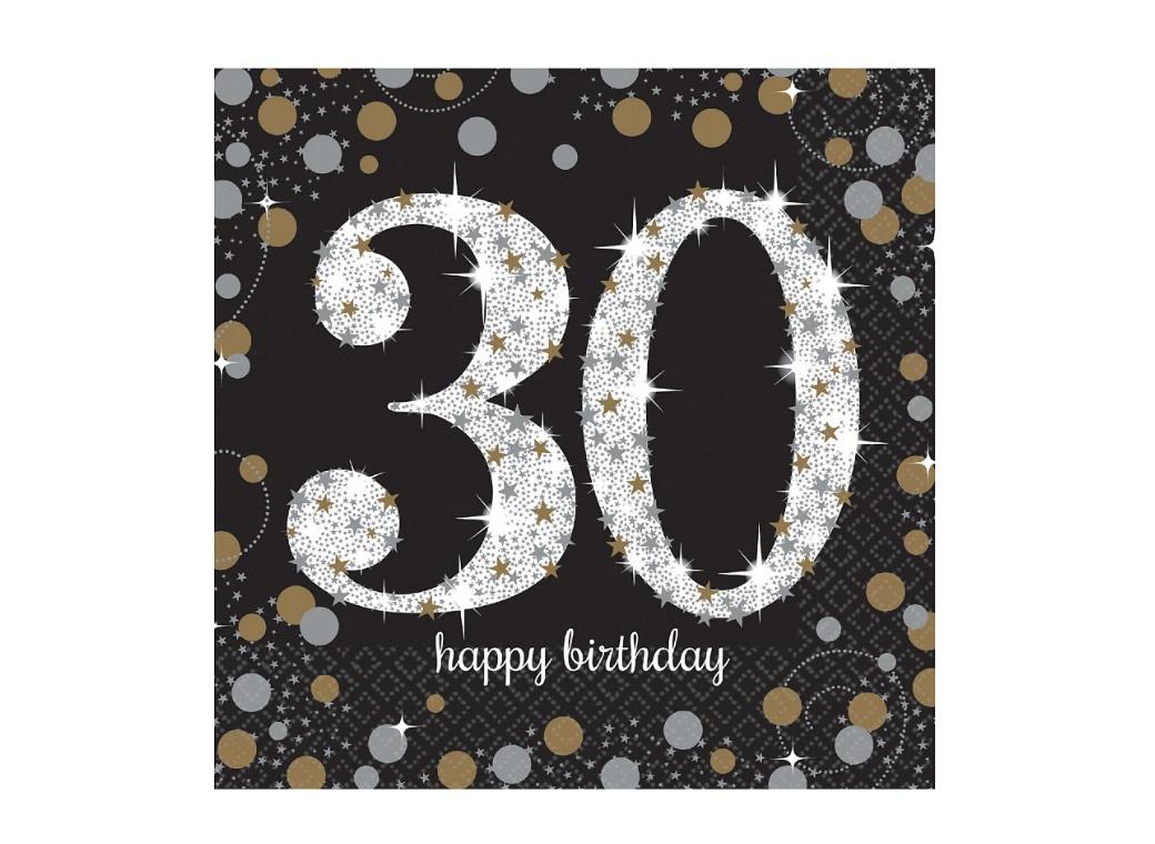 Sparkling 30th Birthday Lunch Napkins 16pk