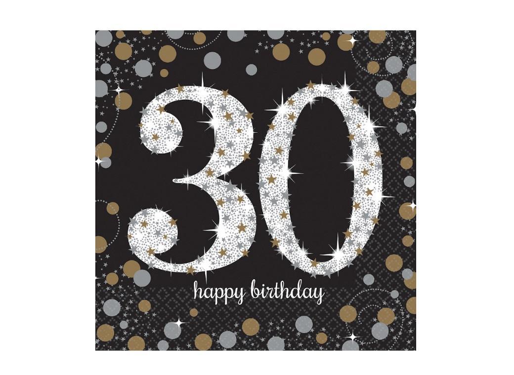 Sparkling 30th Birthday Lunch Napkins 16pk