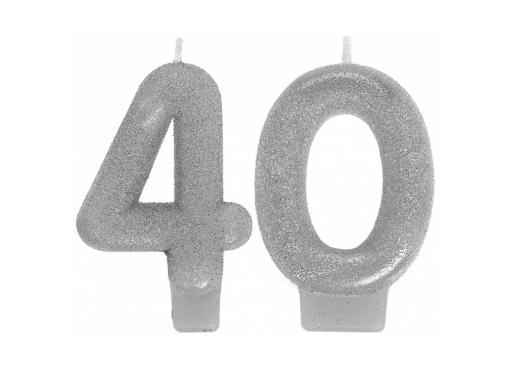 Silver Glitter 40th Candles