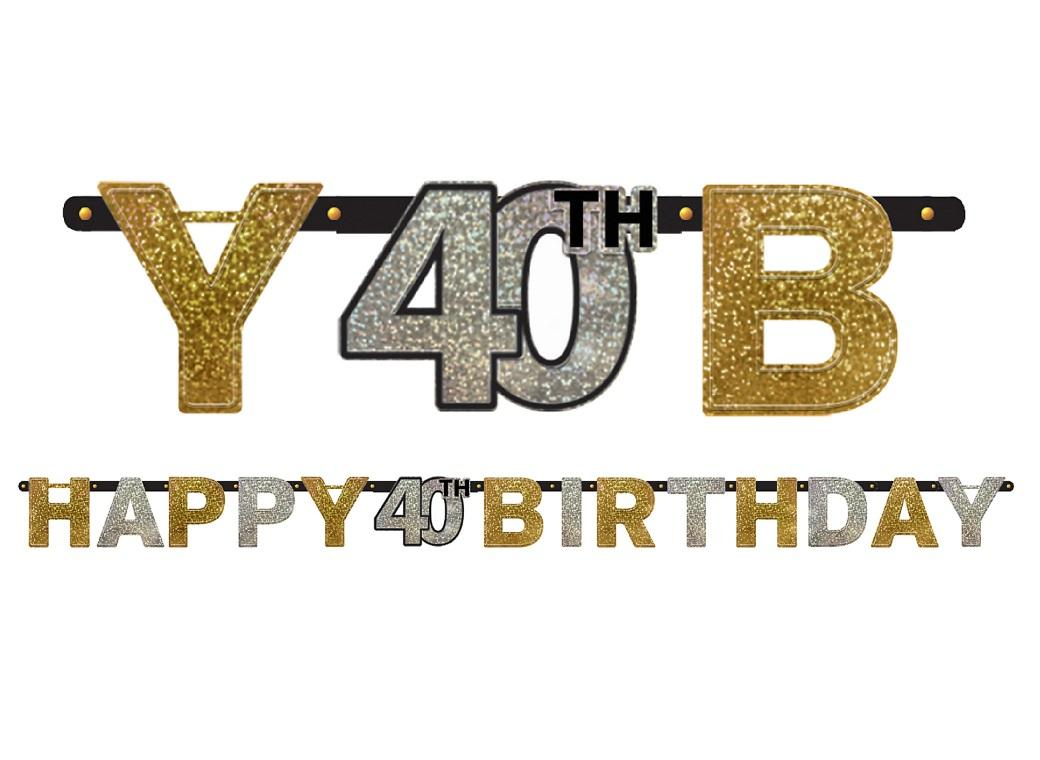 Sparkling 40th Birthday Banner