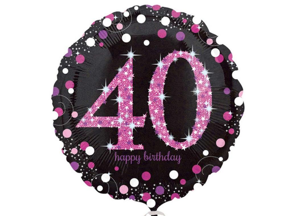 Sparkling Pink 40th Birthday Foil Balloon