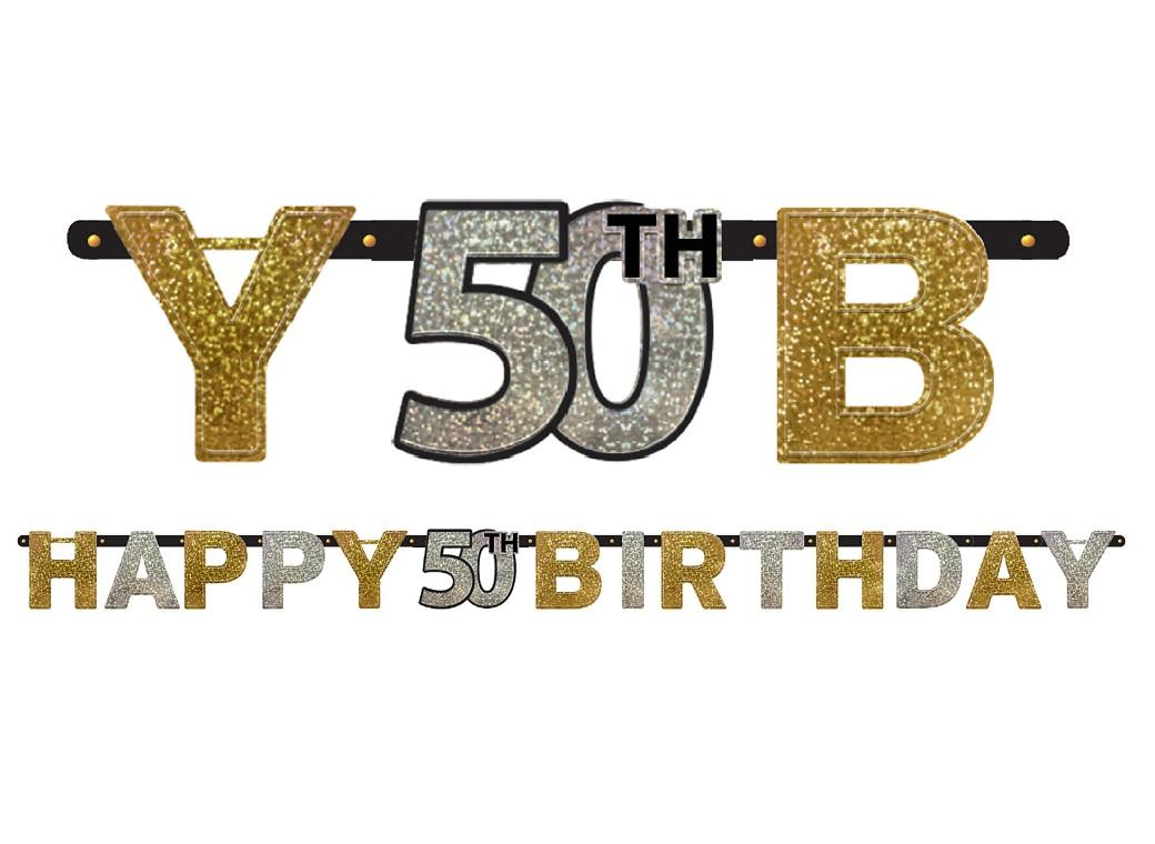 Sparkling 50th Birthday Banner