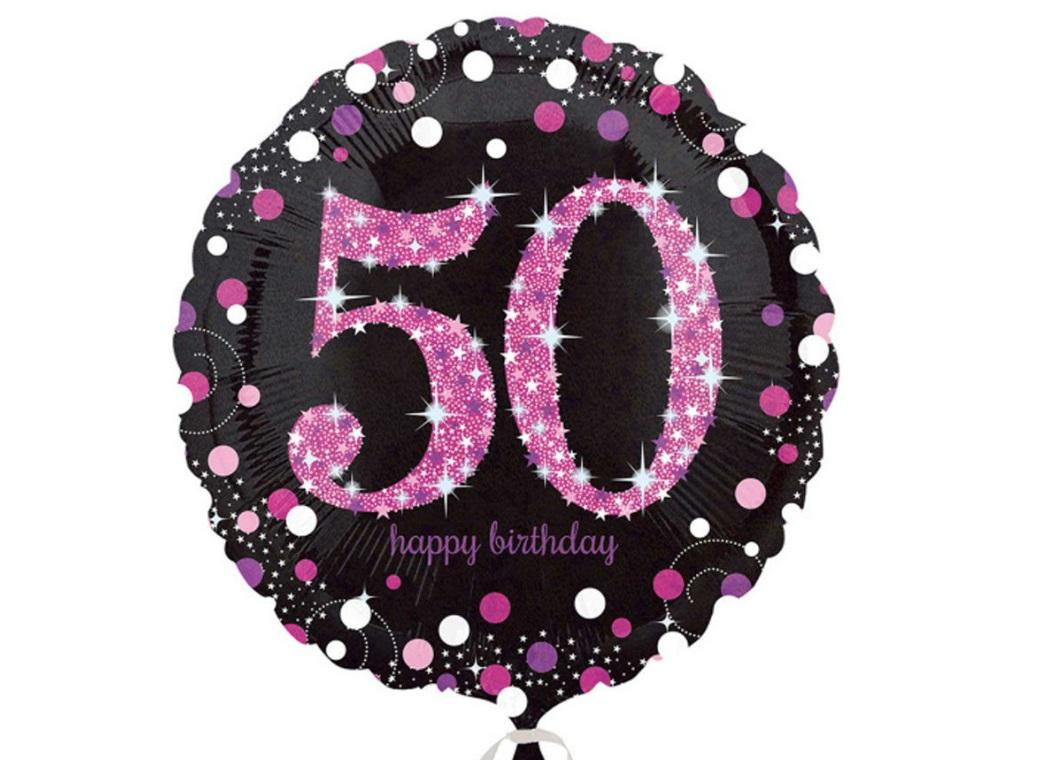 Sparkling Pink 50th Birthday Foil Balloon