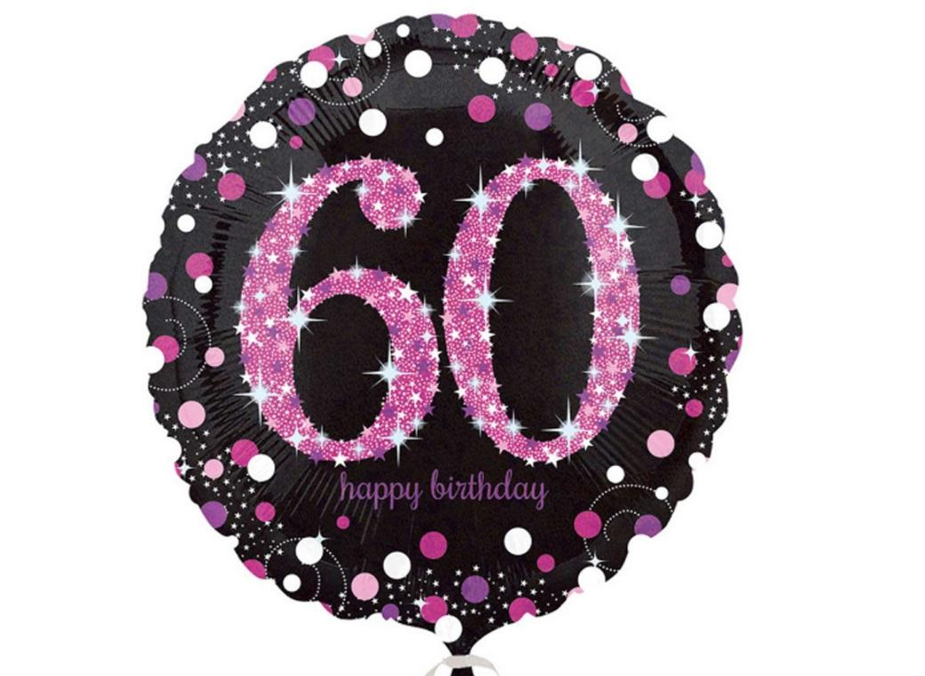 Sparkling Pink 60th Birthday Foil Balloon