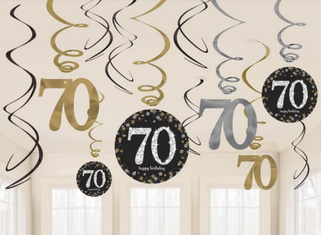 Sparkling 70th Birthday Hanging Swirls