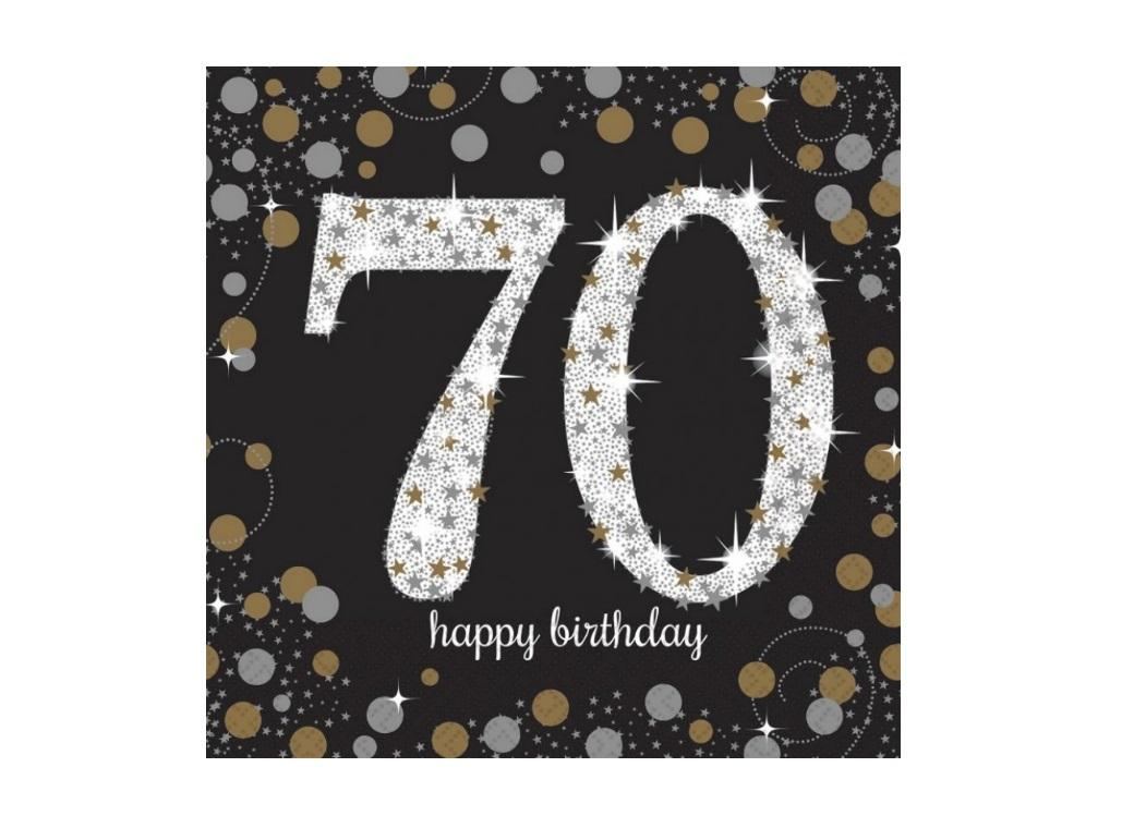Sparkling 70th Birthday Lunch Napkins 16pk