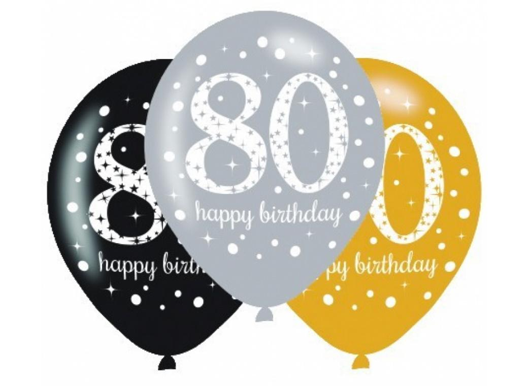 Sparkling 80th Birthday Balloons 6pk
