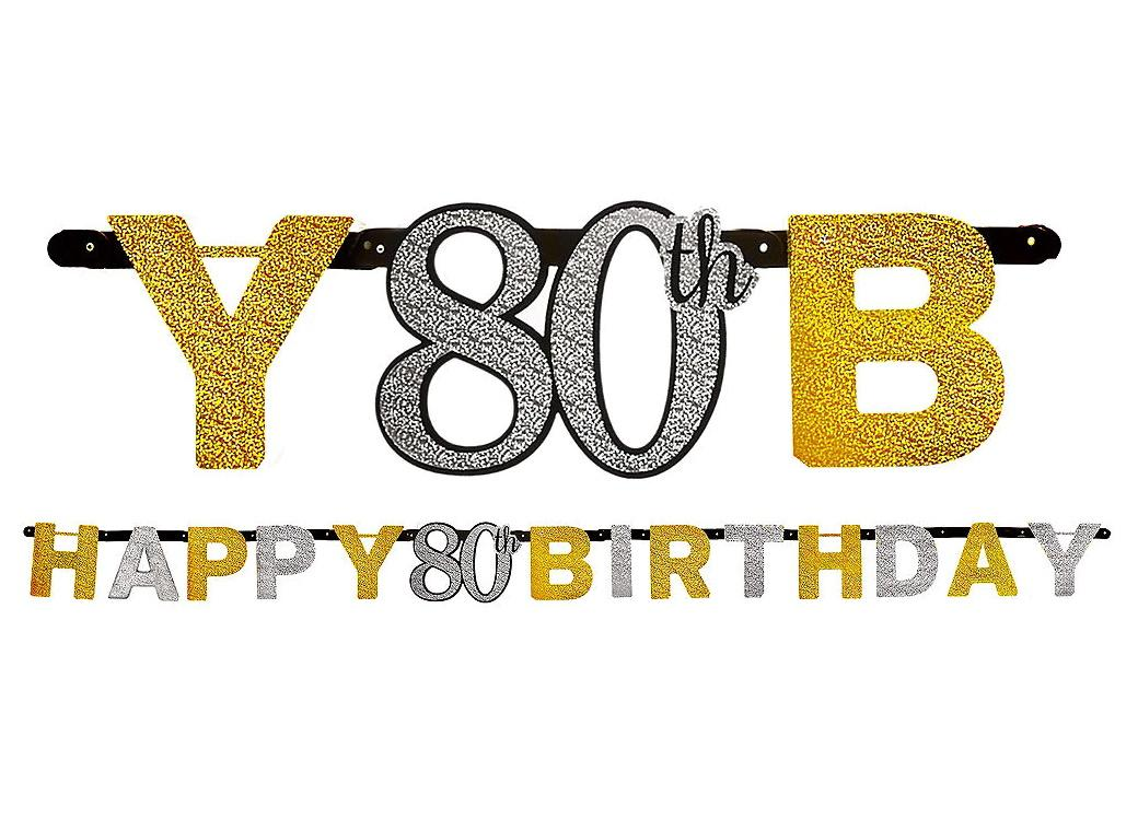 Sparkling 80th Birthday Banner