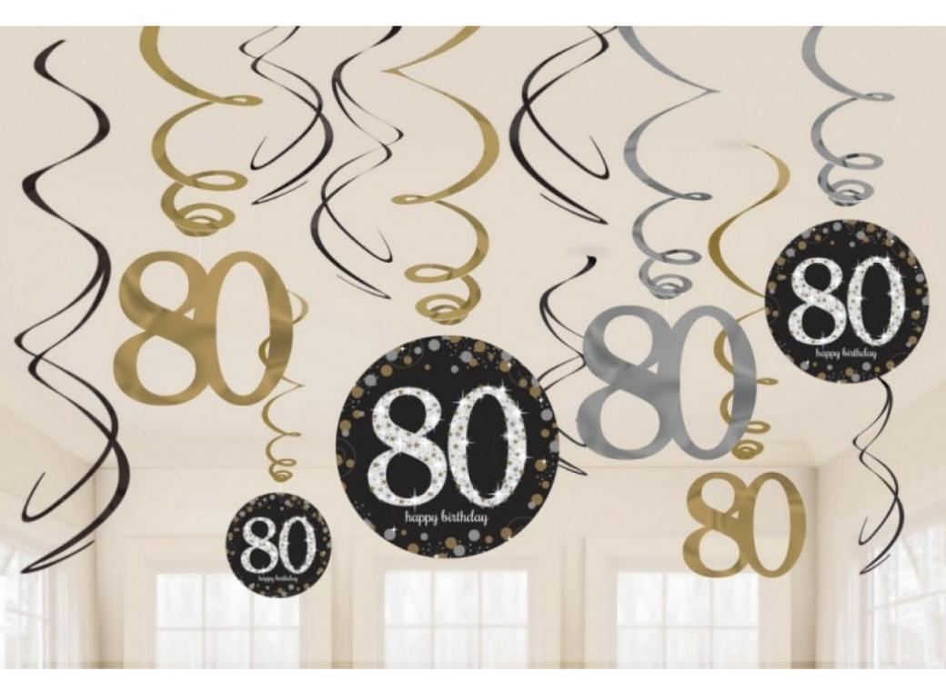 Sparkling 80th Birthday Hanging Swirls
