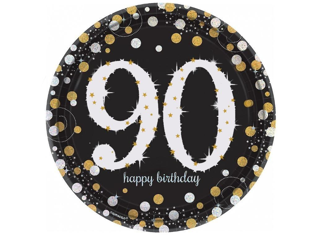 Sparkling 90th Birthday Plates 8pk