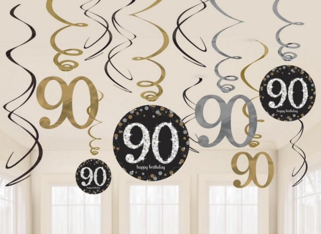 Sparkling 90th Birthday Hanging Swirls