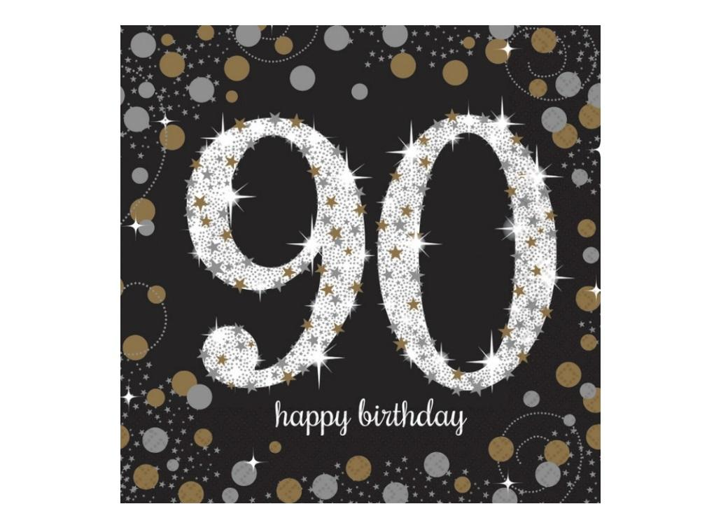 Sparkling 90th Birthday Lunch Napkins 16pk