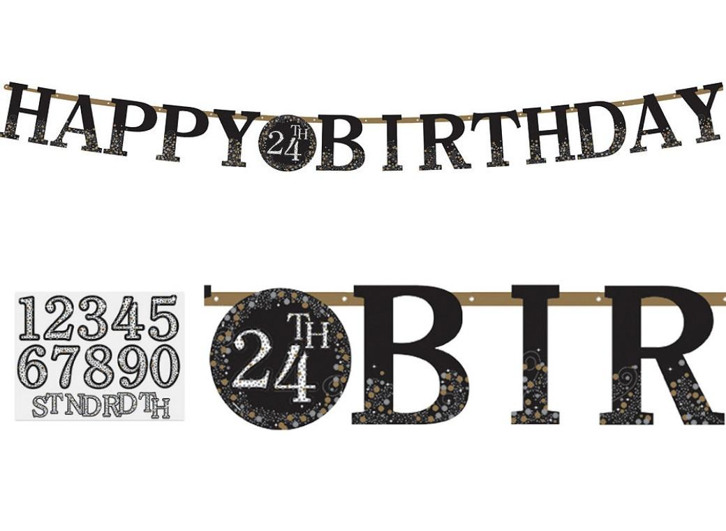 Sparkling Add Any Age Happy Birthday Banner