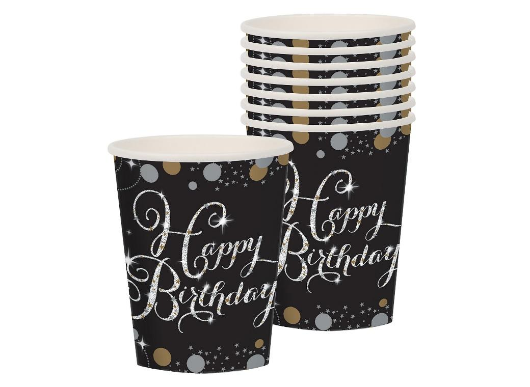 Sparkling Happy Birthday Cups 8pk