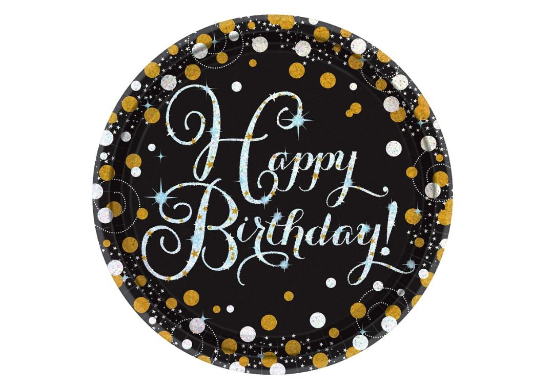 Sparkling Happy Birthday Dinner Plates 8pk