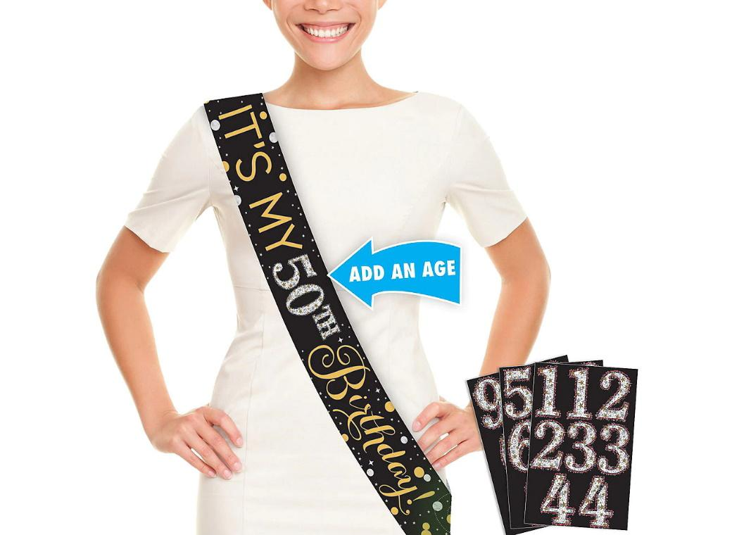 Sparkling Happy Birthday Add An Age Sash