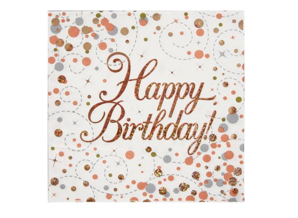 Sparkling Fizz Happy Birthday Napkins 16pk