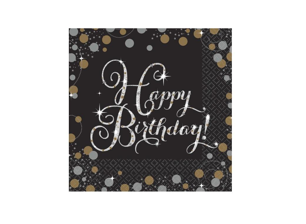 Sparkling Happy Birthday Beverage Napkins 16pk