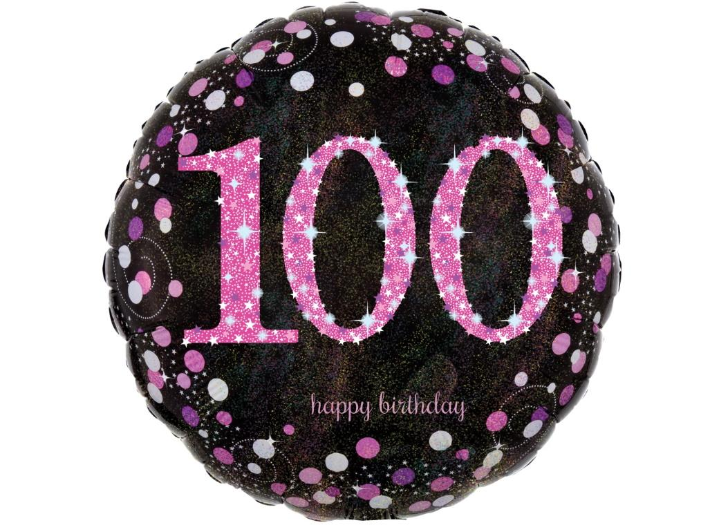 Sparkling Pink 100th Birthday Foil Balloon