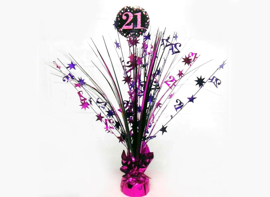 Sparkling Pink 21st Birthday Centrepiece Spray
