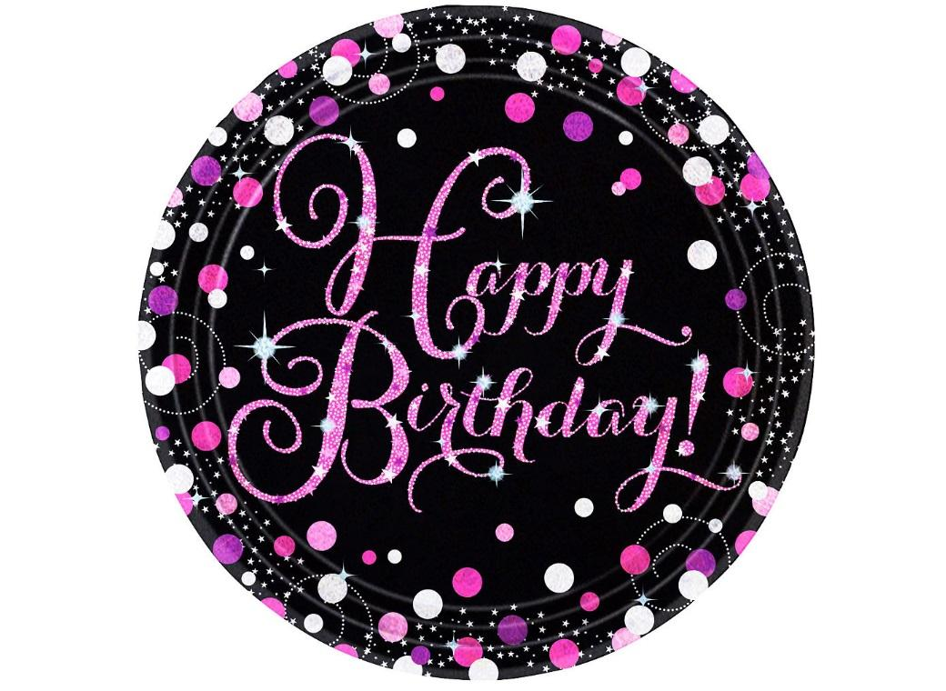 Sparkling Pink Happy Birthday Dinner Plates 8pk