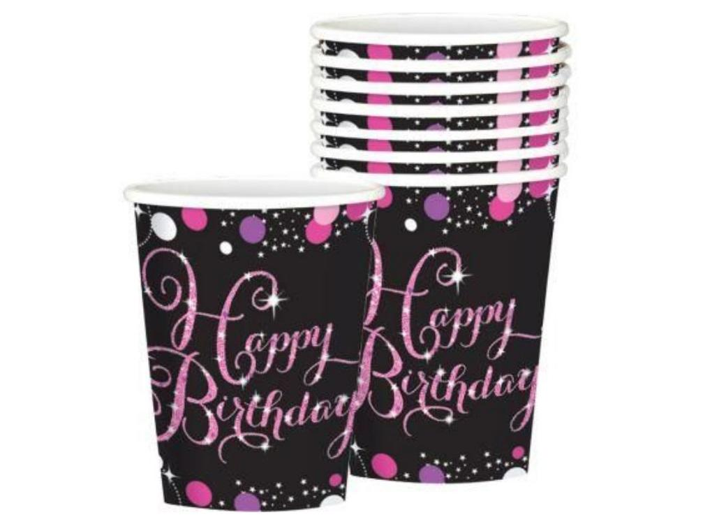 Sparkling Pink Happy Birthday Cups 8pk