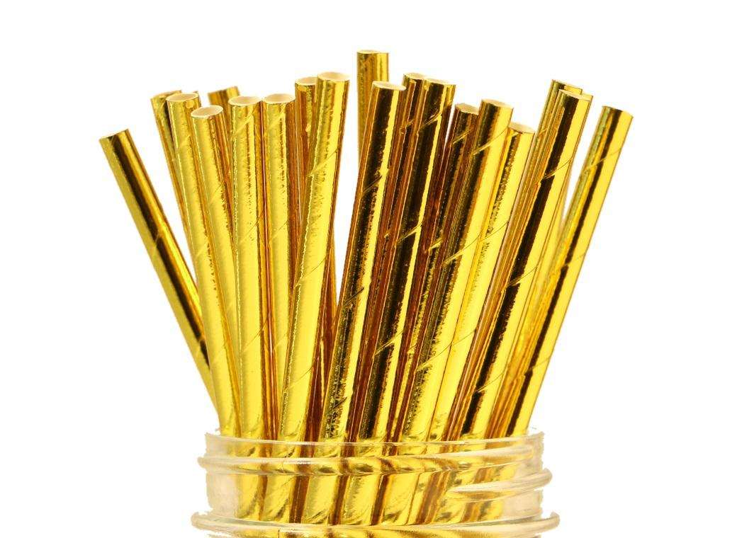 Paper Straws - Solid Gold Foil