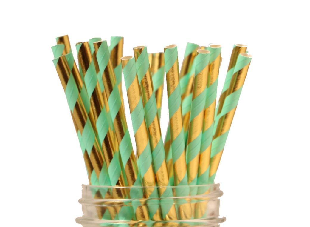 Paper Straws - Mint & Gold Stripe