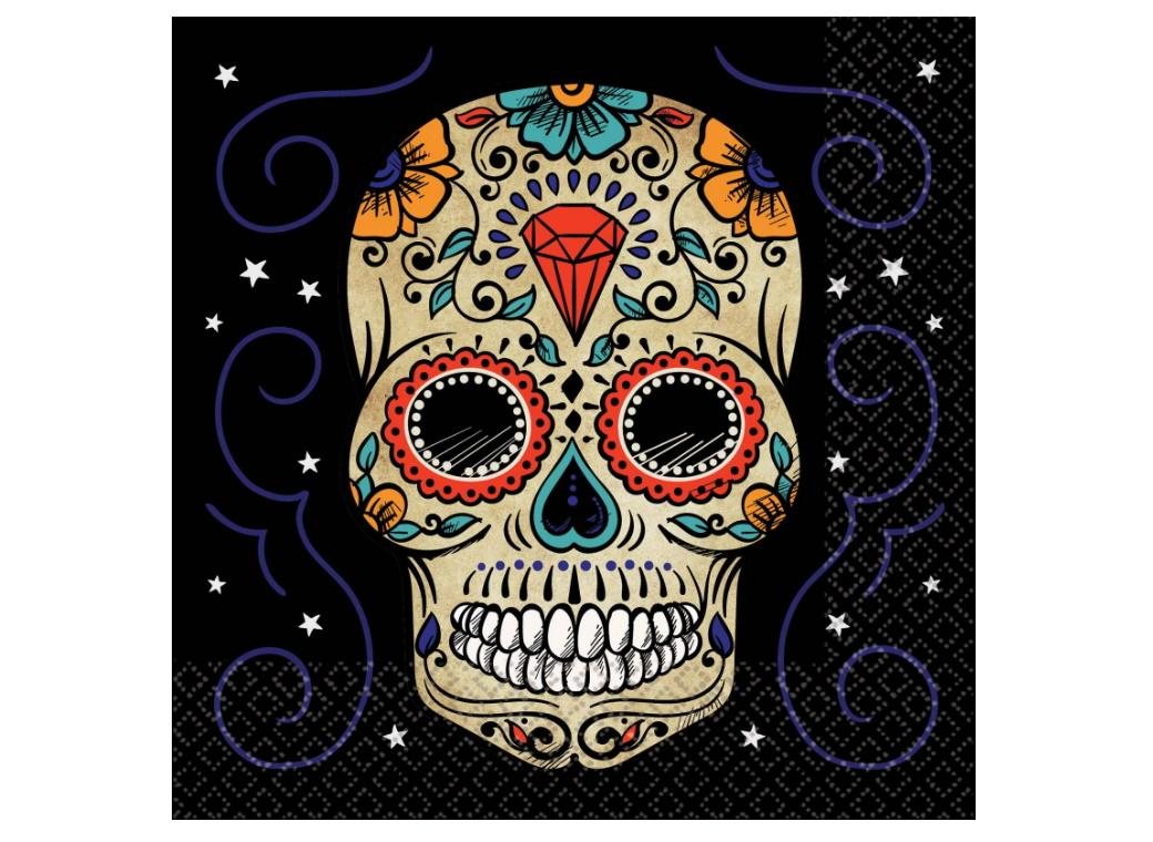 Sugar Skull Lunch Napkins 36pk