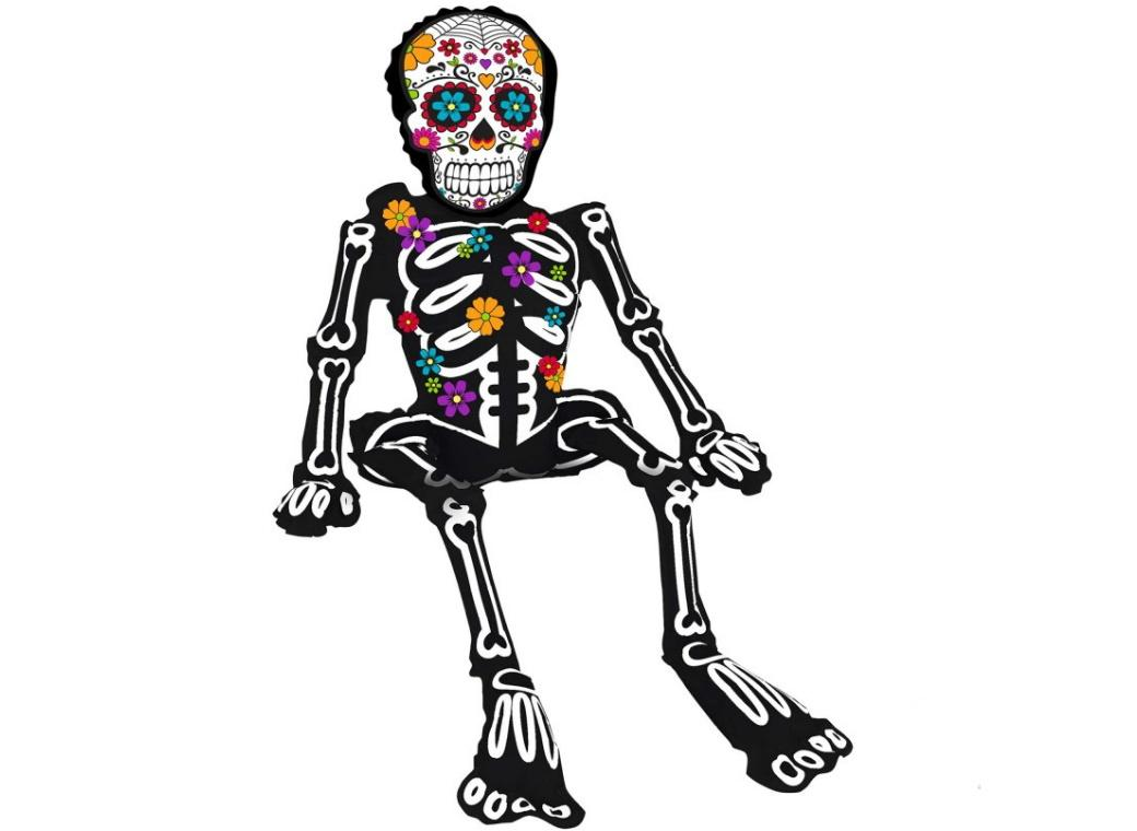 Sugar Skull Sitting Skeleton Foil Balloon