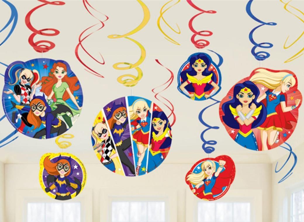 Super Hero Girls Hanging Swirl Decorations